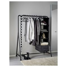 IKEA - TURBO, Clothes rack, indoor/outdoor, black, Suitable for both indoor and outdoor use. Easy to assemble – just click in and out. Easy to move – casters included. Hanging Clothes Racks, Clothes Shelves, Storing Clothes, Clothes Storage, Standing Clothes Rack, Clothes Stand, Clothes Rail, Open Wardrobe, Wardrobe Rack