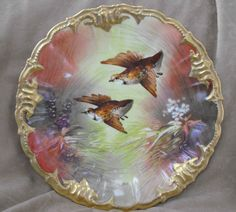 Antique Limoges China Game Plate no.1, Hand-Painted, Signed Solis ...