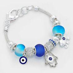 Hamsa Hand Evil Eye Charm Bracelet Sliding Beads SILVER BLUE