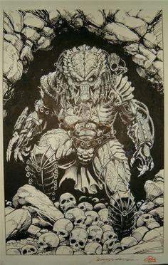 Predator Big Game Cover by Chris Warner Predator Comics, Predator Movie, Alien Vs Predator, Predator Cosplay, Giger Art, Alien Drawings, Alien Concept Art, Aliens And Ufos, Alien Art