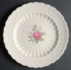 Precious Spode Billingsley Rose Lace Edged Dessert Plate Set of 8 Circa 1926