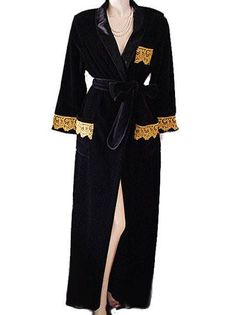VINTAGE GLAMOROUS VANITY FAIR BLACK VELOUR DRESSING GOWN ROBE WITH  SPARKLING GOLD LACE POCKETS   CUFFS abad131b8