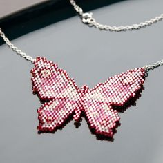 Items similar to Butterfly necklace: Pretty handwoven beaded butterfly hanging from a sterling silver chain, everyday jewelry on Etsy