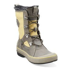 Muckers Squall in Grey Leather with Lemon Canvas - Womens Boots from Clarks