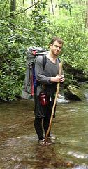 crossing the creek in tights and sandals (Jared55555) Tags: manguytightsspandexleggingsmeggings