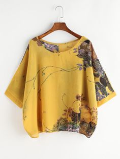 Shop a great selection of Milumia Women's Florals Batwing Sleeve Button Back Chiffon Blouse. Find new offer and Similar products for Milumia Women's Florals Batwing Sleeve Button Back Chiffon Blouse. Latest Fashion For Women, Fashion Online, Women's Fashion, Fashion Blouses, Fashion 2020, Blouse Online, Batwing Sleeve, Summer Tops, Half Sleeves