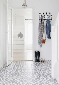 Hallway, white and grey encaustic tile. Hallway, white and grey Home, House Styles, House Design, Flooring, Interior, New Homes, Hallway Inspiration, House Interior, Home Deco