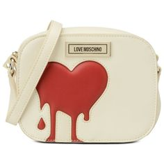 Love Moschino Shoulder Bag ($185) ❤ liked on Polyvore featuring bags, handbags, shoulder bags, ivory, zipper handbag, ivory handbag, zip shoulder bag, shoulder bag handbag and love moschino