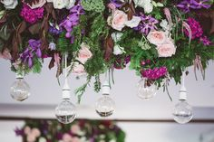 LETTUCE & CO - STYLE. EAT. PLAY 'jennifer + peter' - winery wedding'. floral supended installations with white pendant festoon droppers. modern vintage lace.    pastels, rose gold and grey adorned the Balgownie Estate Winery reception spaces.