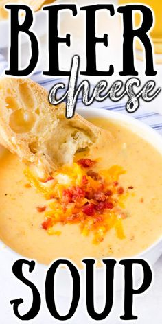 Holy comfort food! This beer cheese soup is rich and creamy and perfect with a slice of crusty French bread. Easy Soup Recipes, Best Dinner Recipes, Beer Cheese Soups, Homemade Beer, Crock Pot Soup, Pumpkin Soup, Food To Make, Good Food, Easy Meals