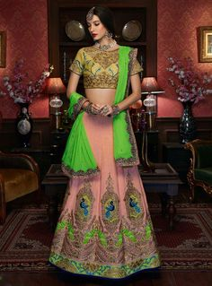 Pink designer silk simple embroidered lengha choli for marraige sangeet party