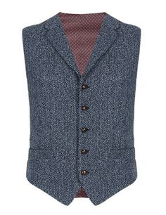 Blue Pure Wool 5 Button Herringbone Waistcoat