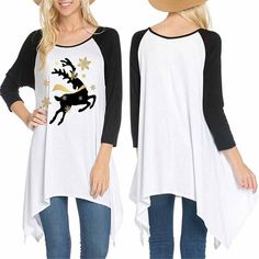 Womens Long Sleeve Christmas Elk Pullover Loose Tops