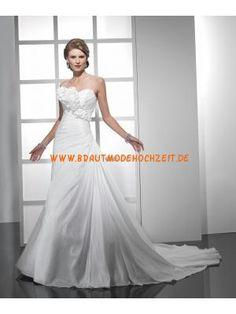 Schönes schlichtes Brautkleid aus Satin Bodenlang A-Linie Trägerlos
