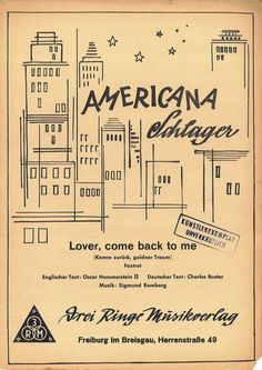 SIGMUND ROMBERG - LOVER, COME BACK TO ME - 1927 - FOXTROT ENGL. U DEUTSCHER TEXT