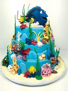 Shantys Fondant Cakes, Cupcake Cakes, Cupcakes, Finding Nemo Cake, Finding Dory, Dory Cake, Marine Cake, Fish Cake Birthday, Ocean Cakes