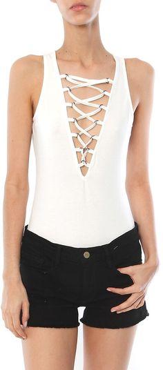 $15 SALE Glamorous Lace Up Bodysuit