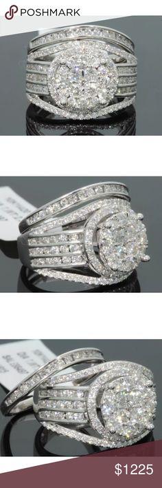 2.35 carat 10k white gold diamond ring set 2.35 carat 10k white gold diamond ring set! Very unique and beautiful design! Retail $4500! Lower on pal! Jewelry Rings
