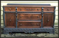 Do you enjoy the look of wood and paint together? This stunning buffet was finished in Graphite Chalk Paint® decorative paint by Annie Sloan | By Dust and All Vintage https://www.facebook.com/DustAndAll