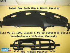 Plastic Dash Cap & Bezel Overlay Fit 98-02 Dodge RAM Pick Up Truck Dodge RAM DASH Cap & Bezel Overlay Hard Cover Fits 98-02 Pick Up Truck Hide the cracks on your 98-01 Dodge Ram ...