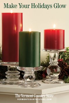 Our selection of unique decorative holiday candles brings a holiday glow to every room. Holiday Candles, Christmas Tablescapes, Christmas Decorations, Holiday Decor, Christmas Settings, Christmas Home, Christmas Holidays, Christmas Crafts, Christmas Items