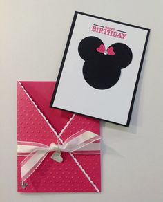 Minnie Mouse Pocket Birthday card. Sweet. Pink. Glittery! on Etsy, $2.95