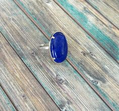 bague lapis lazuli ovale par yinco 925 Silver, Gemstone Rings, Quartz, Etsy, Gifts, Jewelry, Adjustable Ring, Handmade, Hands