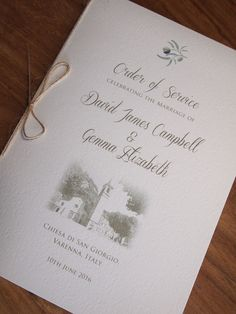 Mediterranean Wedding Order of Service Booklet. Mediterranean / Olive themed wedding stationery / Italian Wedding