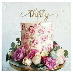 A signature Sweet Bloom buttercream finish cake Painted buttercream florals for Cecilia's 30th birthday inspired by a watercolour painting by the talented @nectarandstone . Topper by @glisteningoccasions_