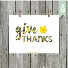 Printable Art  Thanksgiving Print  Give Thanks   by greenoriginals