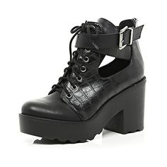 Black croc cut out block heel boots - ankle boots - shoes / boots - women River Island  http://www.riverisland.com/women/shoes--boots/ankle-boots/Black-croc-cut-out-block-heel-boots-656097