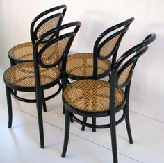 25% OFF - 4 Michael Thonet Ebony Bentwood Chairs all original hand stamped and hand caned seats & backs Made in Poland