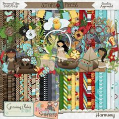 """Harmony [GPS_H] - $3.50 : Scraps N Pieces  Harmony, inspired by the Disney hit """"Pocahontas,"""" is filled with beautiful indian princesses, butterflies, feathers, a raccoon, a teepee and so much more!  This beautiful kit will have you singing the stories of your land as you paint your scrapbook pages in the colors of the wind!  Harmony will inspire you to scrap all the things you love whether they be new adventures or familiar situations. Pocahontas believed in this love."""