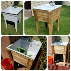 build an outdoor sink and connect it to the outdoor spigot outdoor