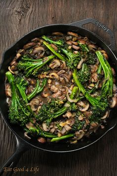 broccolini and mushroom stir-fry. Use regular broccoli if you like. For a vegan version omit the butter. #glutenfree