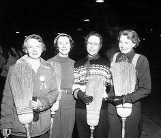 Women's Curling Alberta Champs, February 8, 1955.Gotta love those vintage brooms!