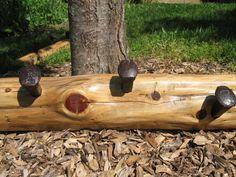 Handmade Hand Split Cedar Coat/Hat Rack with Railroad Spikes