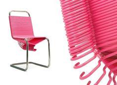 Estructura de silla decorada con ganchos, bien pintaditos debe quedar padre