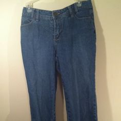 Denim capris These capris r size missy 10 zipper is 4 inches long inseam 19 inches long good condition ! Sorry no trades will bundle tho ! If u have any questions please feel free to ask or make a offer ! I do ship fast also !   Thank U Faded Glory Jeans