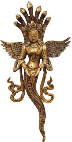 Naga-Kanya (The Snake Woman), Brass Brass Statue Snake Goddess, Sculptures, Lion Sculpture, Snake Art, Brass Statues, Snake Tattoo, Hindu Art, Gods And Goddesses, Religion