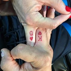 Red King and Queen Finger Tattoos