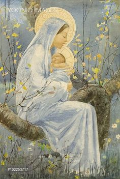 Yooniq images - Christmas card design by Muriel Dawson. Blessed Mother Mary, Divine Mother, Blessed Virgin Mary, Catholic Art, Religious Art, Vintage Holy Cards, Religion, Images Of Mary, Queen Of Heaven