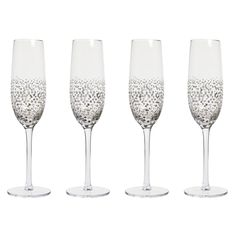 Wilko Champagne Flute 4pk Sparkle Silver