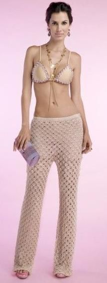 beige crochet pants by Giovana Dias