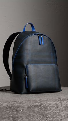 Leather Trim London Check Backpack in Navy/blue - Men Burberry Backpack, Leather Backpack, Leather Wallet, Yoga Jewelry, Hippie Jewelry, Tribal Jewelry, Modern Hippie Style, Hippie Chic, Backpack Bags