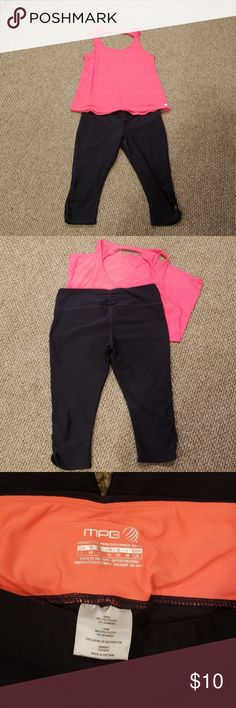 Workout Gear! Cute workout outfit, size L top & bottoms. EUC. Top is designed as a relaxed fit w/ twisted, scoop back; very lightweight. Dk grey bottoms are capris length w/ ruching @ knees & hips for cute & flattering fit. Colors pictured are accurate. Other