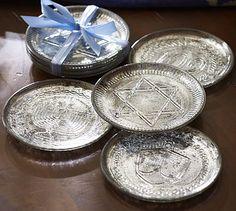 Loving the 2013 Hanukkah style from Pottery Barn!!! Gelt Tidbit Plate, Set of 4