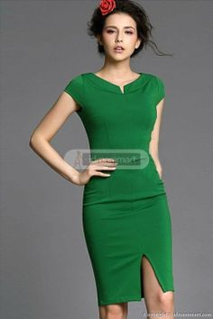 #idreammart Lady Tight Skirt Green V Collar Knee Length Work Dress - iDreamMart.com
