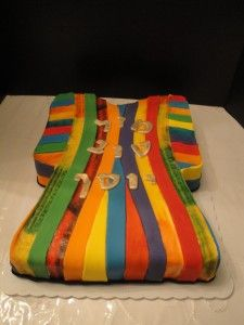 Dreamcoat cake for a JOSEPH AND THE AMAZING TECHNICOLOR DREAMCOAT themed party!