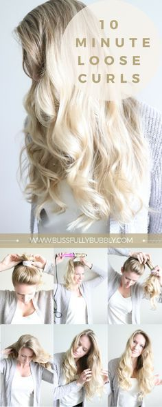 Easy loose curls in under 10 minutes! This simple, quick hair tutorial is perfect for any girl on a time crunch who still wants gorgeous, flowing, wavy, mermaid hair! Great hairstyle for date nights and everyday looks. www.blissfullybubbly.com